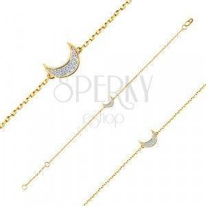 Bransoletka z 14K złota - delikatny błyszczący łańcuszek, półksiężyc wyłożony cyrkoniami obraz