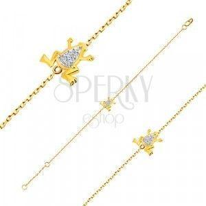 Bransoletka z 14K złota - delikatny łańcuszek, żabka z białego złota z cyrkoniami obraz