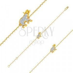 Bransoletka z 14K złota - słonik z błyszczącymi cyrkoniami, delikatny lśniący łańcuszek obraz