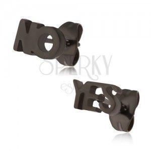 Czarne kolczyki wkręty ze stali - YES i NO obraz