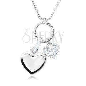 Naszyjnik ze srebra 925 - lśniący łańcuszek o kwadratowych oczkach, zawieszka multi, serca obraz