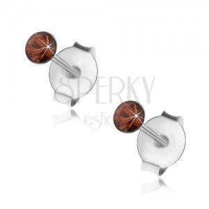 Srebrne 925 kolczyki, okrągły pomarańczowo-czerwony kryształek Swarovski, 2, 5 mm obraz