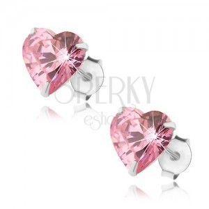 Srebrne 925 kolczyki, serduszkowa cyrkonia różowego koloru, sztyfty obraz
