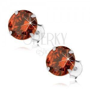 Srebrne 925 kolczyki, okrągła cyrkonia w pomarańczowym odcieniu, 8 mm obraz
