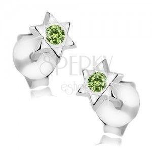 Srebrne 925 kolczyki, gwiazda Dawida, okrągły zielony kryształ Swarovski obraz