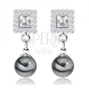 Kolczyki ze srebra 925, kwadrat ozdobiony szarymi kryształkami, szara perła obraz