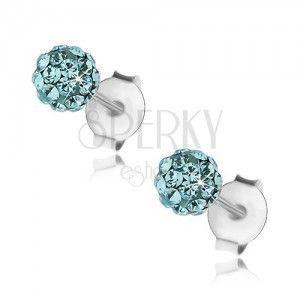 Kuleczkowe kolczyki ze srebra 925, niebieskie kryształki Preciosa, 4 mm obraz