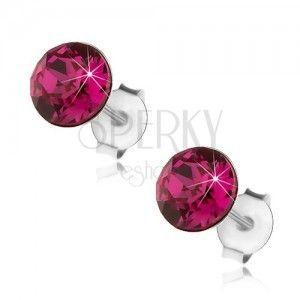Srebrne kolczyki 925, okrągły kryształ Swarovski różowego koloru, 6 mm obraz