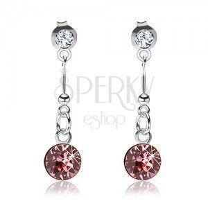 Srebrne 925 kolczyki, przezroczysty i różowy kryształ Swarovski, pałeczka obraz