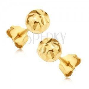 Złote wkrętki 14K - kuleczki z promienistym kwiatkiem obraz