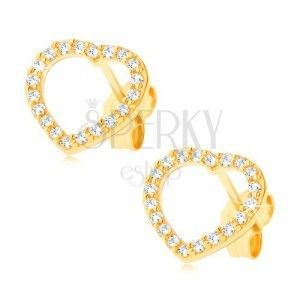 Złote kolczyki 14K - cyrkoniowa sercowa linia obraz