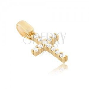 Wisiorek z 14K złota - mały cyrkoniowy krzyżyk z pałeczkami obraz