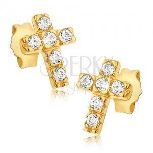 Złote kolczyki 14K - krzyżyki z sześcioma okrągłymi cyrkoniami obraz