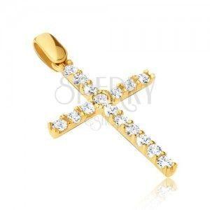 Wisiorek ze złota 14K - duży krzyż z cyrkoniami i cienkimi pałeczkami obraz