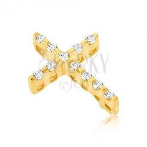 Złoty wisiorek 14K - cienki krzyżyk z cyrkonii, ukryte oczko obraz