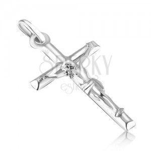Wisiorek z białego złota 14K - gładki krzyż łaciński z wypukłym Jezusem obraz