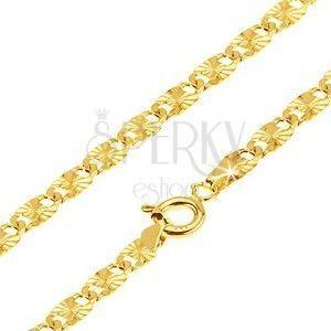 14K łańcuszek w złocie, elipsowe oczka ze zdobieniem, 550 mm obraz