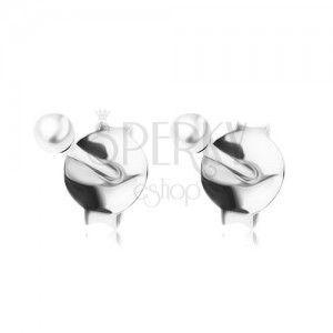 Wkręty, srebro 925, drobna perełka białego koloru, 2 mm obraz