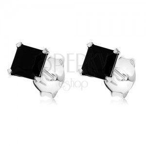 Kolczyki ze srebra 925, cyrkoniowy kwadracik czarnego koloru, 4 x 4 mm obraz