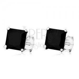 Kolczyki ze srebra 925, czarna kwadratowa cyrkonia, wkręty, 7 x 7 mm obraz