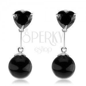 Srebrne 925 kolczyki, cyrkoniowe serce i okrągła perła w czarnym kolorze obraz