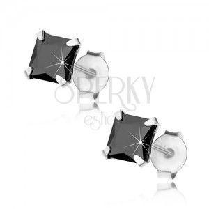 Wkręty, srebro 925, cyrkoniowy kwadrat czarnego koloru, 5 mm obraz