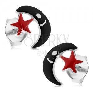 Srebrne kolczyki 925, sztyfty, czarny księżyc, czerwona gwiazdeczka, emalia obraz