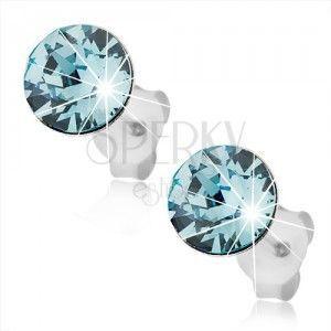Srebrne kolczyki 925, okrągły jasnoniebieski Swarovski kryształ, wkręty obraz