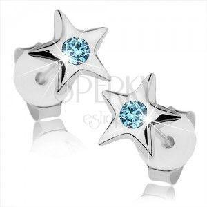 Srebrne 925 kolczyki, lśniąca pięcioramienna gwiazdeczka, niebieski kryształ obraz