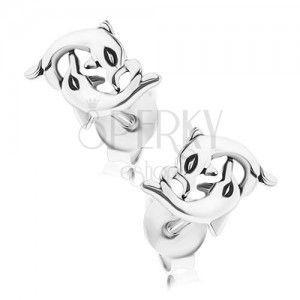Srebrne kolczyki 925, owinięte delfiny, zapięcie na sztyft obraz