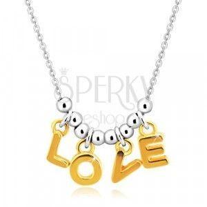 """Naszyjnik ze srebra 925 - łańcuszek, litery """"L-O-V-E"""" w złotym odcieniu i kulki obraz"""