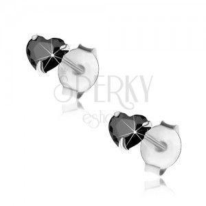 Srebrne 925 kolczyki, czarne cyrkoniowe serduszko, 4 mm, sztyfty obraz