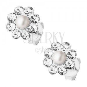 Srebrne 925 kolczyki, kwiatek z perełką i bezbarwnymi kryształkami Preciosa obraz