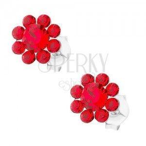 Srebrne 925 kolczyki, kwiatek z czerwonych kryształków Preciosa obraz