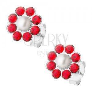 Srebrne kolczyki 925, czerwony kwiatek z białą perełką pośrodku obraz