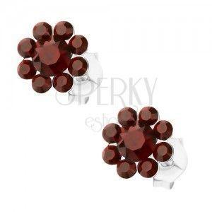 Srebrne 925 kolczyki, kwiatek z kryształków Preciosa bordowego koloru obraz