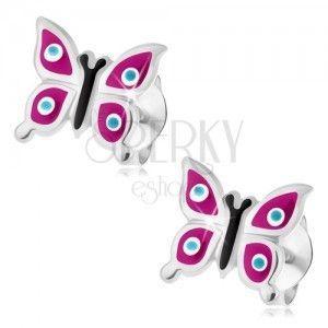 Srebrne kolczyki 925, motylek - fioletowe skrzydła, niebieskie kropki z białą otoczką obraz