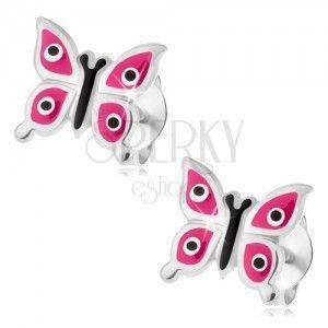 Srebrne kolczyki 925, lśniący motyl z różowymi skrzydłami, czarno-białe kropki obraz