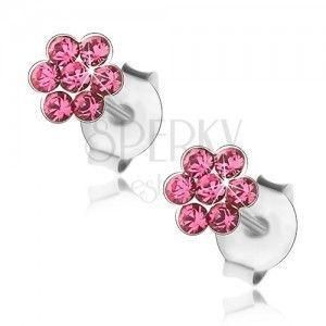 Srebrne kolczyki 925, błyszczący kwiatek z różowych kryształków obraz