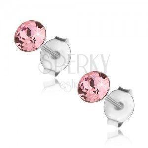 Wkręty, srebro 925, Swarovski kryształek różowego koloru, 4 mm obraz