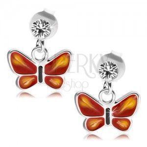Srebrne 925 kolczyki, przezroczysty kryształ Swarovski, czerwono-różowy motylek obraz
