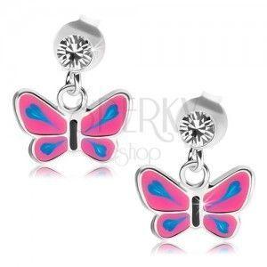 Kolczyki ze srebra 925, przezroczysty kryształek, motyl z różowymi skrzydłami, niebieskie łzy obraz