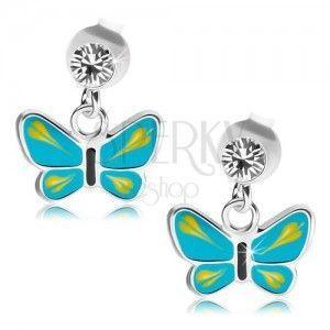 Srebrne 925 kolczyki, przezroczysty kryształek Swarovski, niebiesko-żółty motylek obraz