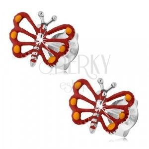 Srebrne kolczyki 925, czerwony motylek z wyciętymi skrzydłami, patyna obraz