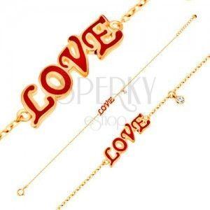 Bransoletka z żółtego 14K złota, zawieszki - czerwony emaliowany napis LOVE, cyrkonia obraz