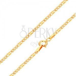 Łańcuszek z żółtego 14K złota - owalne i podłużne ogniwa, prostokąt, 450 mm obraz