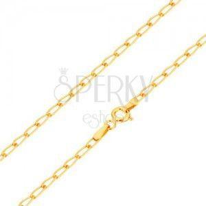 Złoty łańcuszek 585 - lśniące płaskie owalne ogniwa, 550 mm obraz