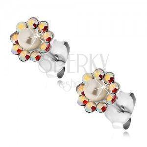 Kolczyki ze srebra 925, kwiatek z tęczowych kryształków Preciosa i perełki obraz