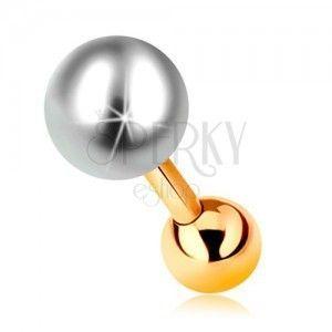 Piercing do ucha z żółtego 14K złota, biała perła i lśniąca kuleczka, 6 mm obraz