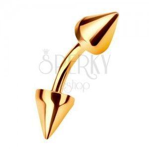 Złoty 14K piercing do brwi zakończony dwoma stożkami, 6 mm obraz